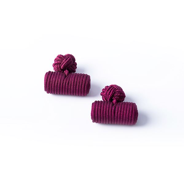 Load image into Gallery viewer, Burgundy Silk Knot & Barrel Cufflinks