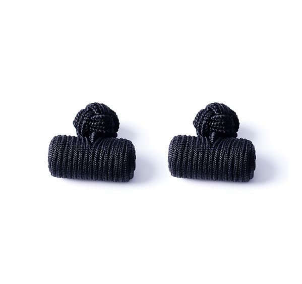 Load image into Gallery viewer, Black Silk Knot & Barrel Cufflinks