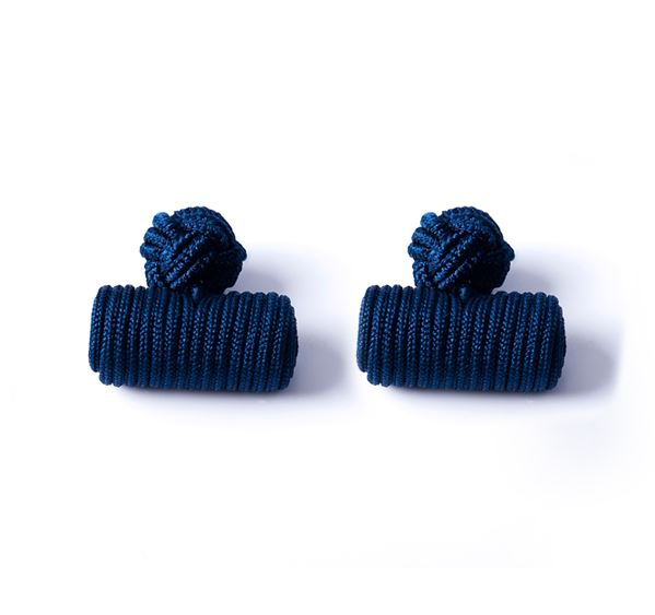 Load image into Gallery viewer, Navy Silk Knot & Barrel Cufflinks