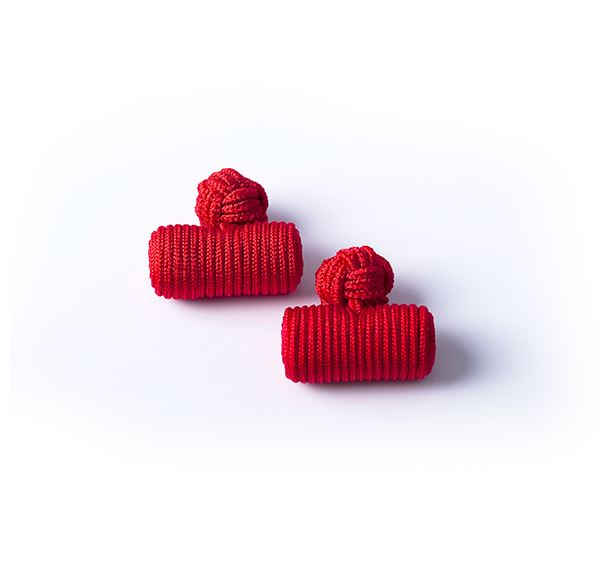 Red Silk Knot & Barrel Cufflinks