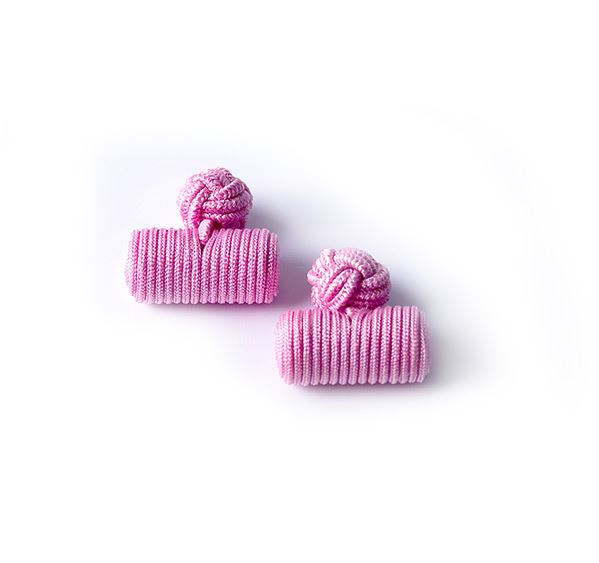 Pink Silk Knot & Barrel Cufflinks