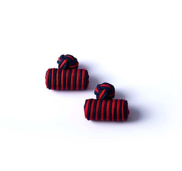 Load image into Gallery viewer, Navy and Red Silk Knot & Barrel Cufflinks