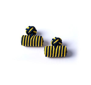 Navy and Yellow Silk Knot & Barrel Cufflinks