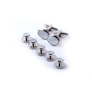 Silver and Mother of Pearl Dress Studs Half Suite (T bar cufflinks)
