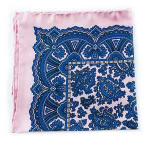 Pink & Blue Silk Pocket Square - Large Paisley