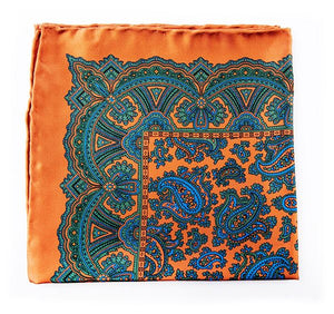 Ochre Silk Pocket Square - Large Paisley