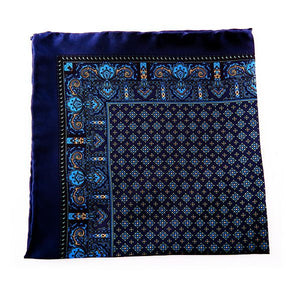 Dark Blue Silk Pocket Square - Paisley & Geometric