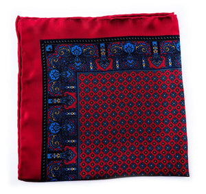 Red Silk Pocket Square - Paisley & Geometric