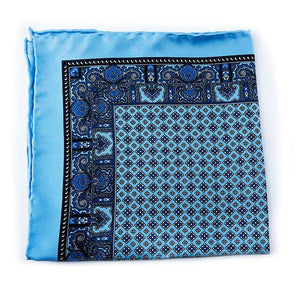 Light Blue Silk Pocket Square - Paisley & Geometric