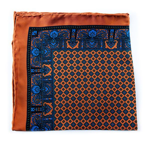 Load image into Gallery viewer, Ochre Silk Pocket Square - Paisley & Geometric