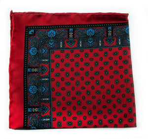 Red Silk Pocket Square - Small Paisley