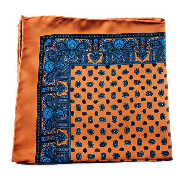 Load image into Gallery viewer, Ochre Silk Pocket Square - Small Paisley