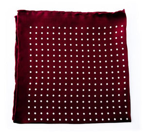 Maroon Spotted Silk Pocket Square