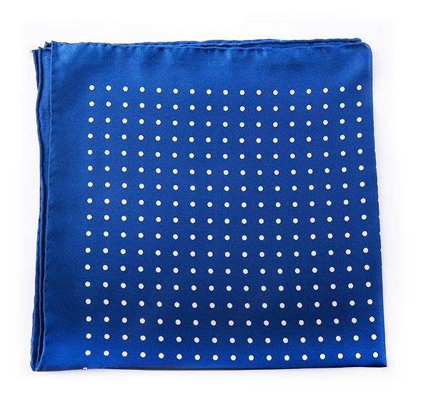 Load image into Gallery viewer, Light Blue Spotted Silk Pocket Square