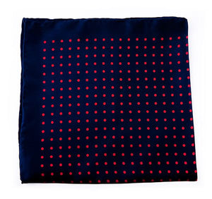 Dark Blue & Red Spotted Silk Pocket Square