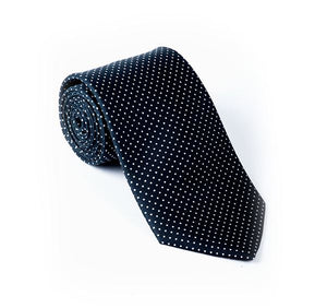 Load image into Gallery viewer, Dark Blue & White Pin Spot Printed Tie