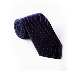 Load image into Gallery viewer, Dark Blue & Red Pin Spot Printed Tie