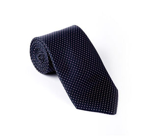 Load image into Gallery viewer, Dark Blue & Pink Pin Spot Printed Tie