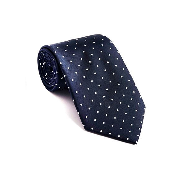 Dark Blue & White Spot Printed Tie
