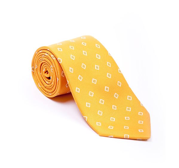 Yellow Geometric Printed Tie
