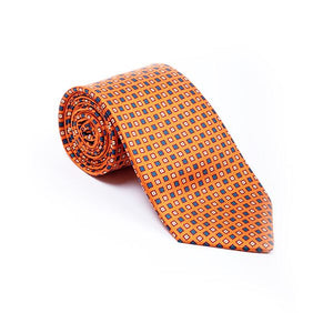 Orange with Blue Squares Fancy Printed Tie