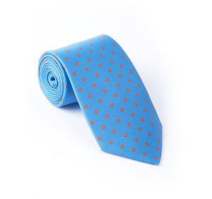 Blue with Orange Fancy Printed Tie
