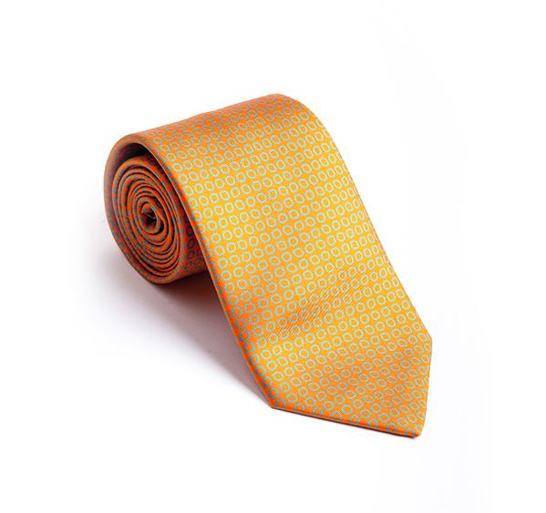 Load image into Gallery viewer, Orange with Blue Circles Fancy Printed Tie