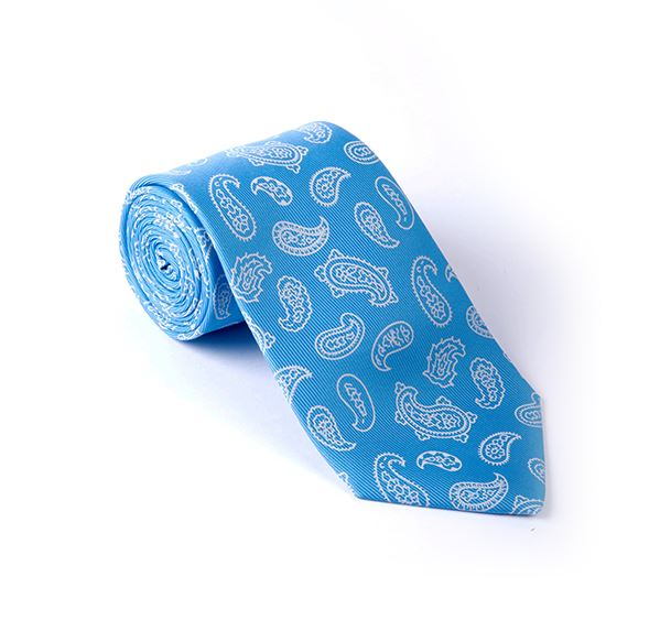 Load image into Gallery viewer, Light Blue & White Paisley Printed Tie