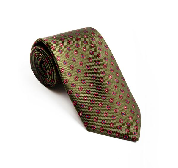 Green with Red Paisley Printed Tie
