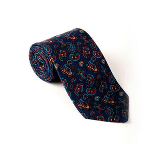 Load image into Gallery viewer, Blue & Maroon Paisley Printed Tie