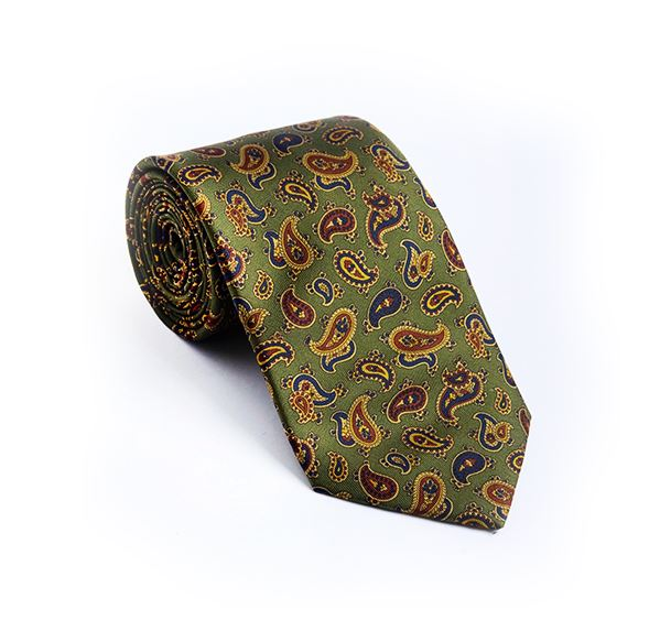 Load image into Gallery viewer, Green Paisley Printed Tie