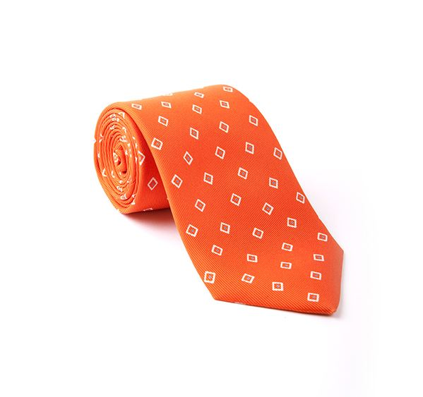 Orange Geometric Printed Tie