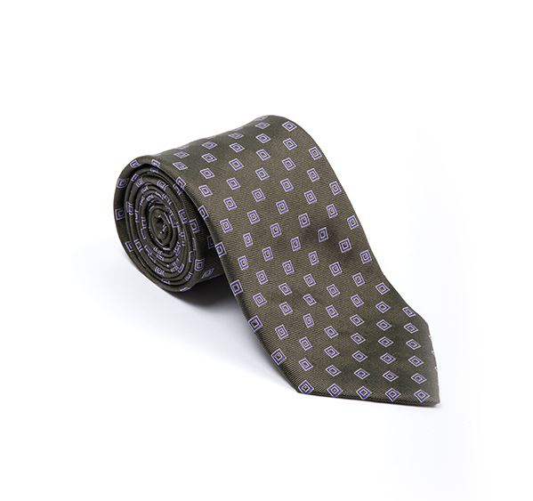 Load image into Gallery viewer, Green & Blue Geometric Woven Tie