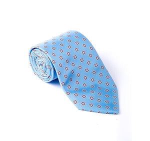 Load image into Gallery viewer, Light Blue & Brown Geometric Woven Tie