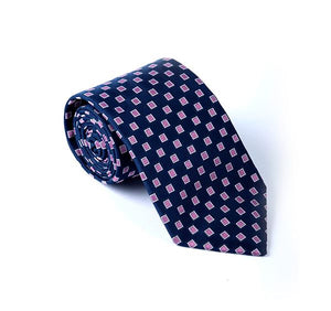 Load image into Gallery viewer, Dark Blue & Pink Geometric Woven Tie
