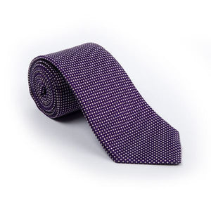 Load image into Gallery viewer, Purple & Cream Fancy Woven Tie