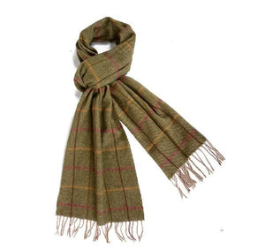 Load image into Gallery viewer, Green Checked Lambswool Scarf