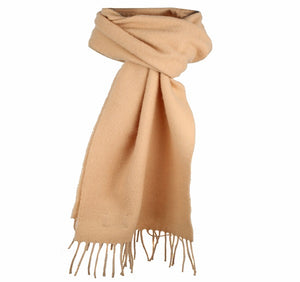 Dents Plain Beige Lambswool Scarf