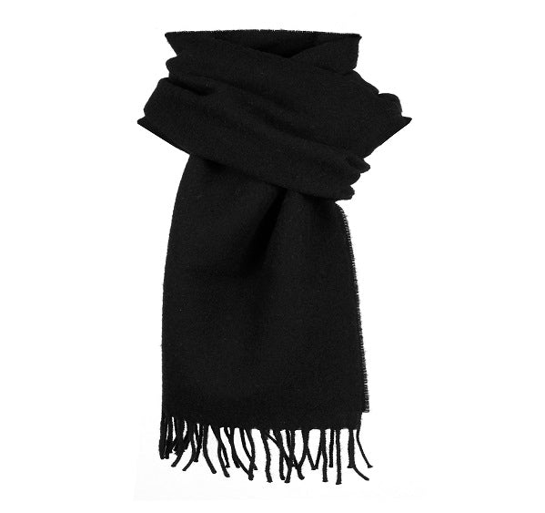 Dents Plain Black Lambswool Scarf