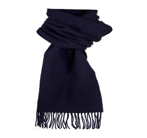 Dents Plain Navy Blue Lambswool Scarf