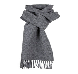 Dents Plain Grey Lambswool Scarf
