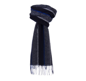 Dents Black and Grey Striped Lambswool Scarf