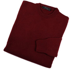 Mens Burgundy Lambswool Crew Neck Jumper