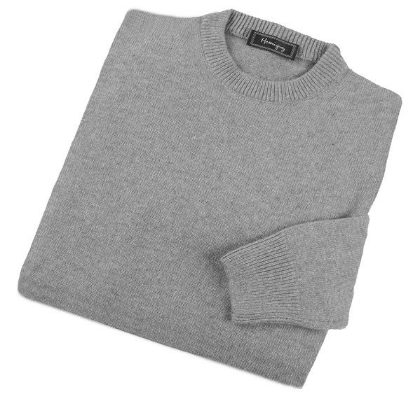 Mens Grey Lambswool Crew Neck Jumper