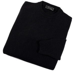 Mens Black Lambswool Crew Neck Jumper
