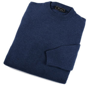 Load image into Gallery viewer, Mens Blue Lambswool Crew Neck Jumper