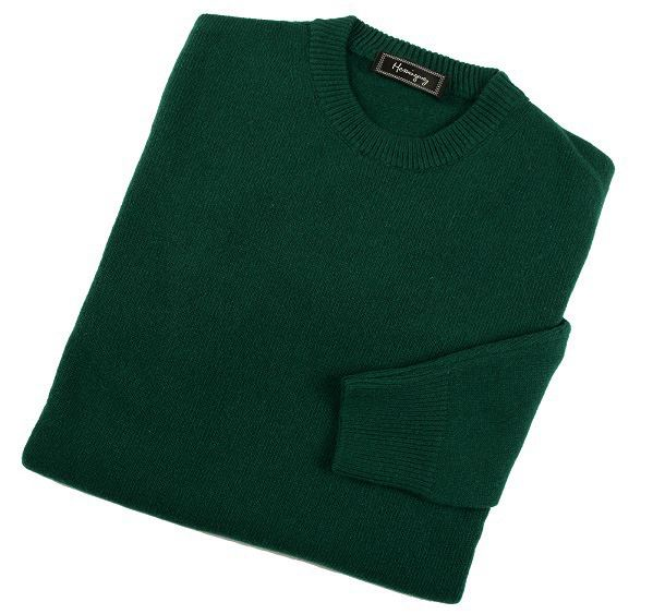 Load image into Gallery viewer, Mens Bottle Green Lambswool Crew Neck Jumper