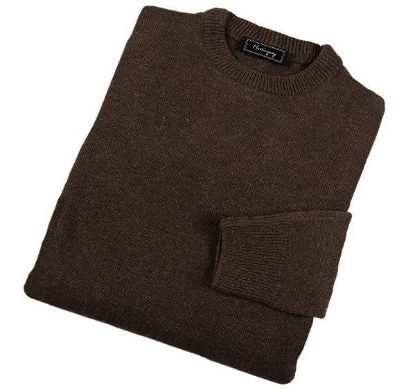 Mens Brown Lambswool Crew Neck Jumper