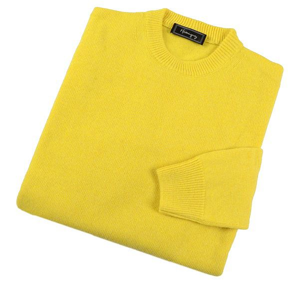 Mens Yellow Lambswool Crew Neck Jumper
