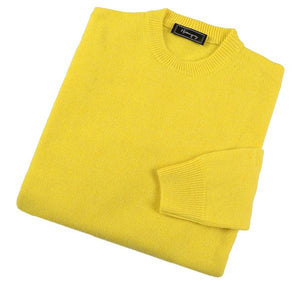 Load image into Gallery viewer, Mens Yellow Lambswool Crew Neck Jumper